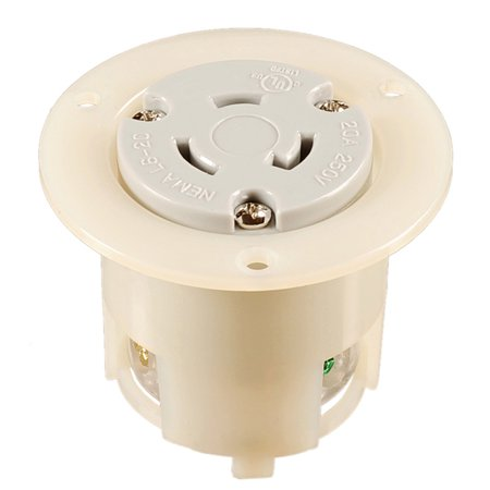NEMA L6-20 Locking Flanged Outlet, 20A 250V AC, 2 Pole 3 Wire, cUL Listed ()