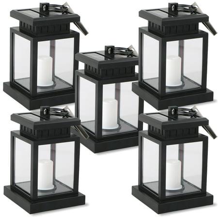 Waterproof Outdoor Solar Lantern Hanging Light LED Candle Yard Patio Garden Lamp Sided Hanging Lantern