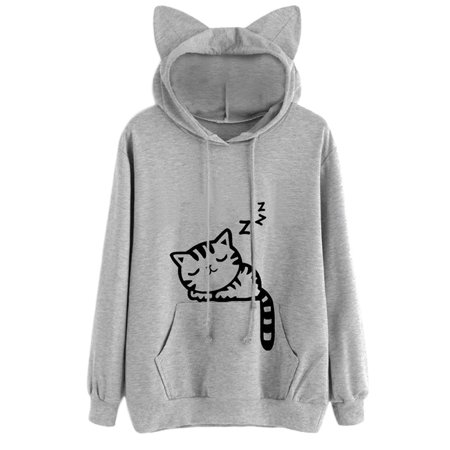 Sweetsmile Women Cat Ear Hoodie Sweatshirts Autumn Casual Cat Printed Coat Girls Long Sleeve Pullovers Outwear Clearance (Eevee Hoodie With Ears)