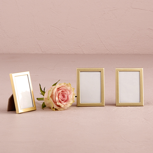 Easel Back Mini Photo Frames Matte Gold Set of 3 Wedding Favor Weddingstar