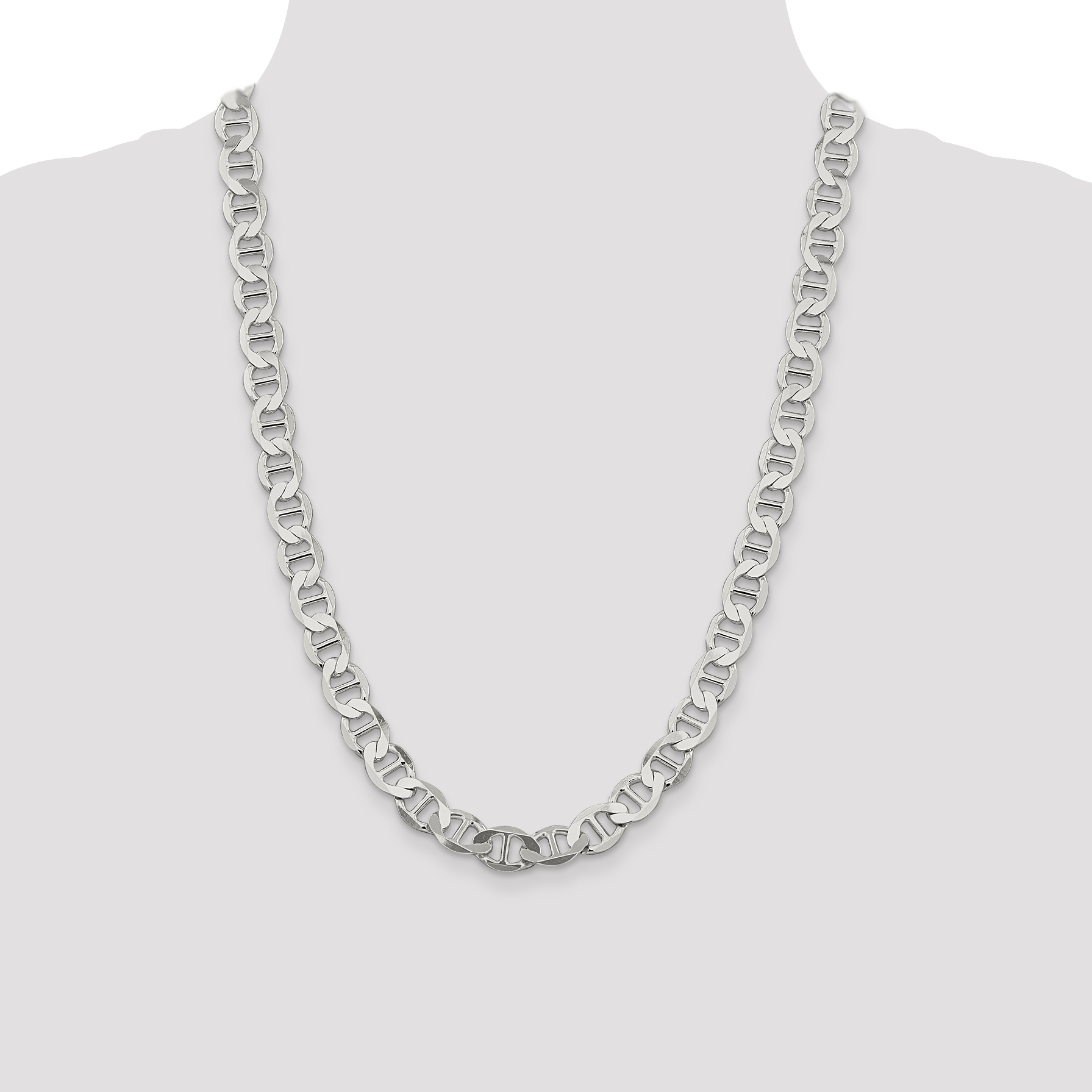 Best Birthday Gift Sterling Silver 4mm Semi-Solid Flat Anchor Chain