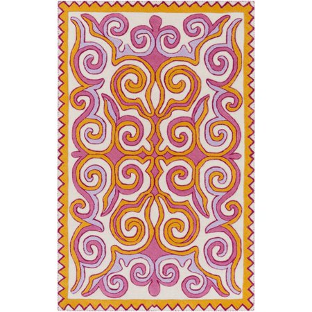 8 X 10 Heavenly Design Sunflower Yellow Carnation Pink And Lavender Purple Wool Area Throw Rug