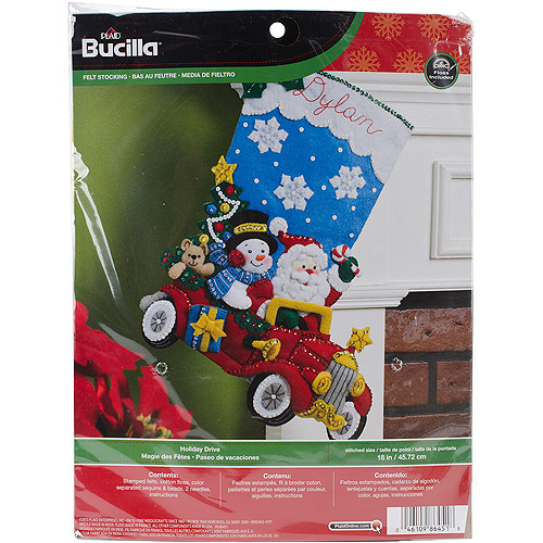 "Holiday Drive Stocking Felt Applique Kit, 18"" Long"