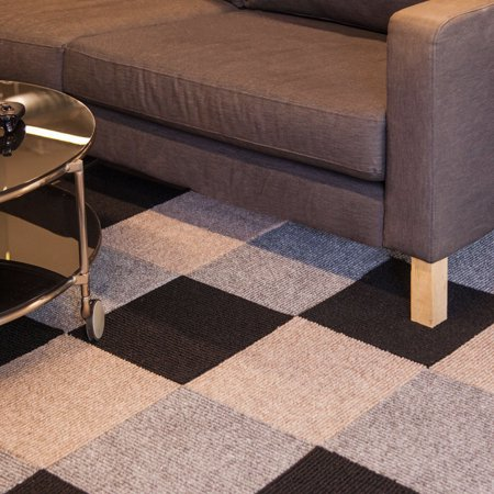 FlooringInc Berber Carpet Tiles 20 Tiles (20 Sqft) Peel and Stick Gunmetal (20 Tiles) ()