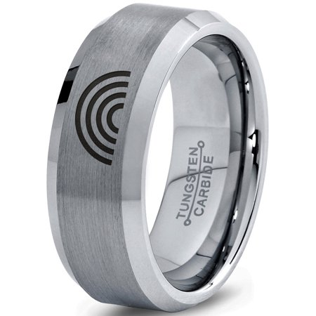 Tungsten Sky Spectrum Rainbow Band Ring 8mm Men Women Comfort Fit Gray Step Bevel Edge Brushed Polished