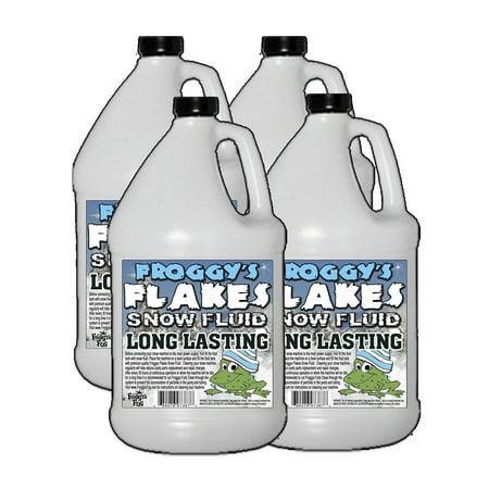 Floyd Snow (4 Gallon Case - LONG LASTING Snow Juice Machine Fluid - Froggys Flakes (75 Foot Plus Float / Drop) Slow Evaporation Formula)