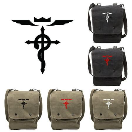 Full Metal Alchemist Flamel Cross Canvas Crossbody Travel Map Bag Case
