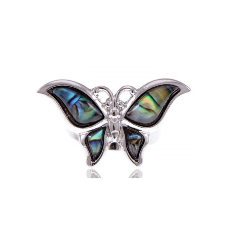 Silver Tone Dark Mystery Green Natural Abalone Shell Butterfly Adj Fashion Ring