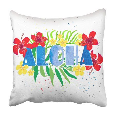 RYLABLUE Colorful Palm Inscription Aloha With Tropical Flowers In The Bright Beautiful Pink Tree Pillowcase 16x16 inch - image 1 of 1