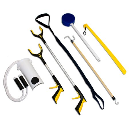 - RMS 7-Piece Hip Knee Replacement Kit with Leg Lifter, 19 and 32 inch Rotating Reacher Grabber, Long Handle Shoe Horn, Sock Aid, Dressing Stick, Bath Sponge - Ideal for Knee or Back Surgery Recovery
