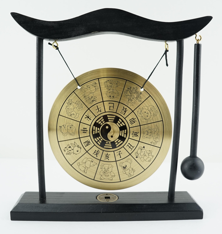 Almanac Animals Zen Gong Yin Yang Bell Display Desk Tabletop Decor Gift Feng Shui Resonator