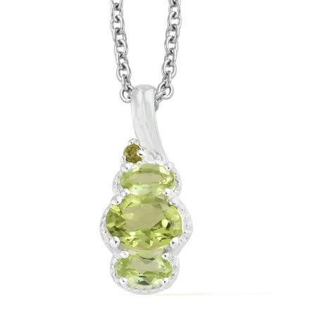 Multi Gemstone Circle Pendant - Mix Metal Oval Peridot Multi Gemstone Pendant Chain Necklace 20