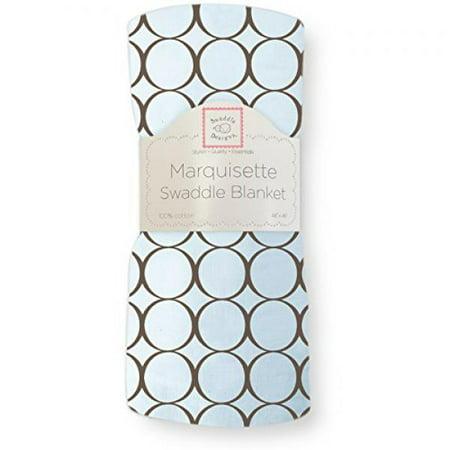 Pastel Blue Mod Circles - SwaddleDesigns Marquisette Swaddling Blanket, Brown Mod Circles, Pastel Blue