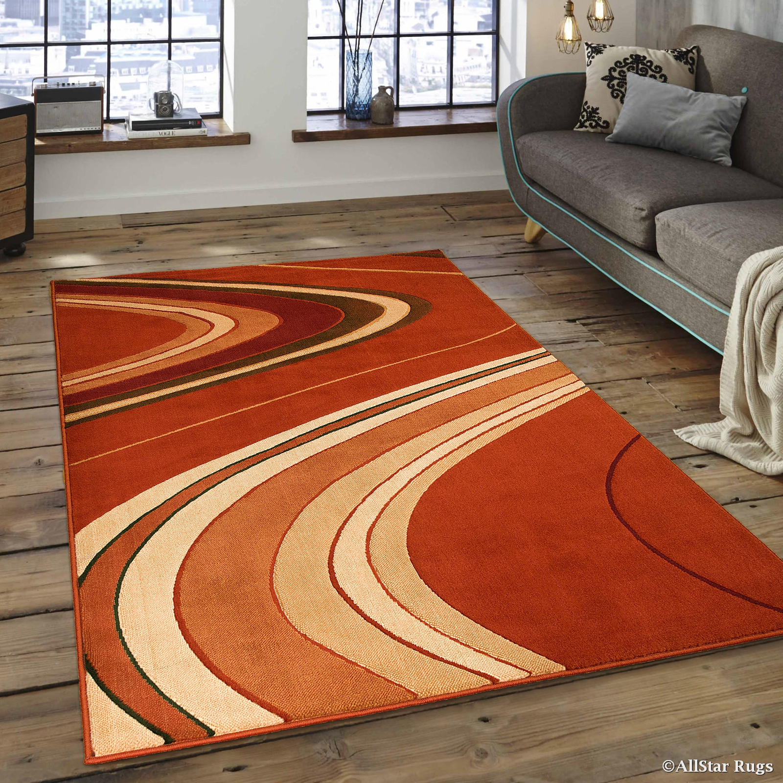 Allstar Orange Modern Contemporary Area Rug 5 2 Quot X 7 2