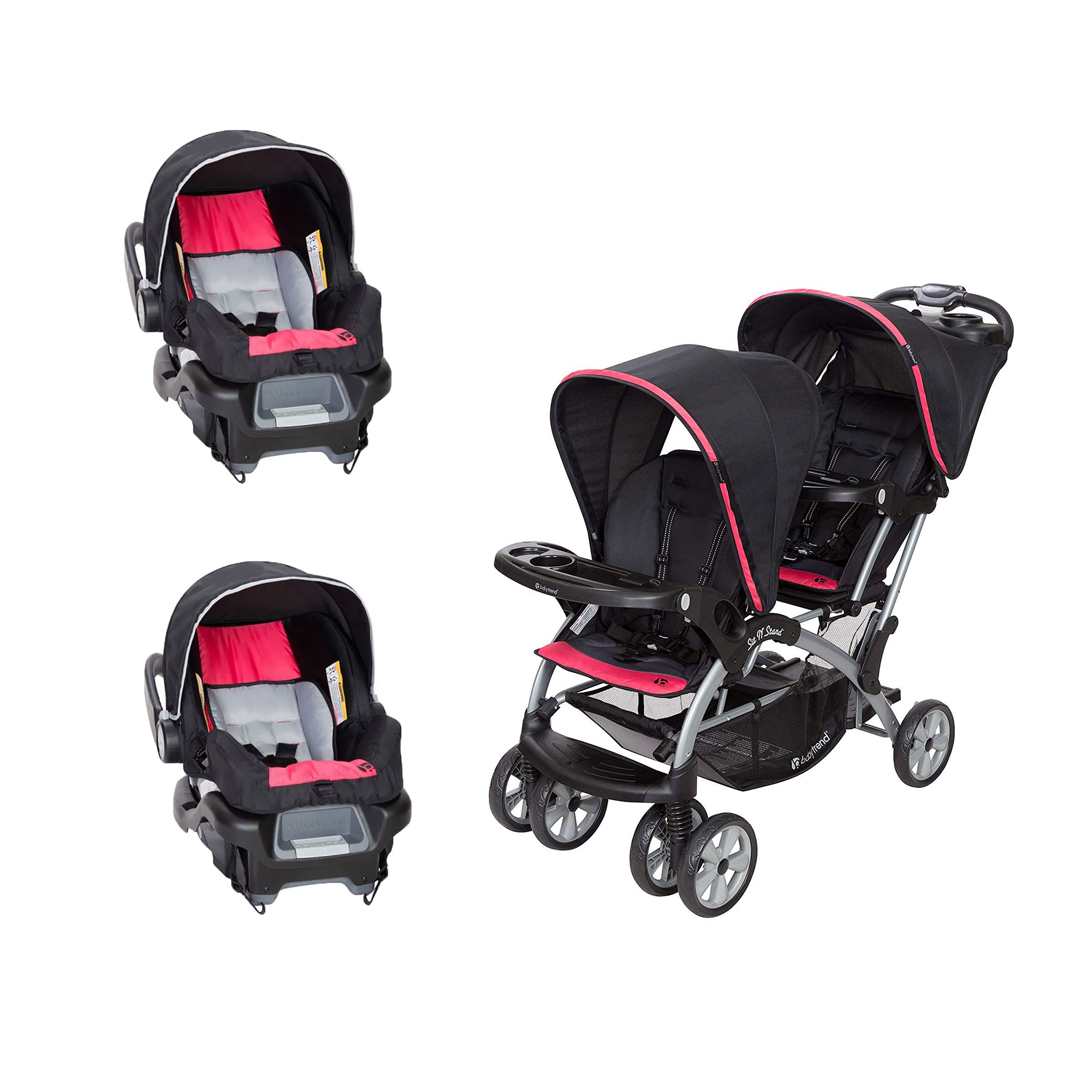 Baby Trend Sit N' Stand Double Stroller with 2 Infant Car Seats, Optic Pink by Baby Trend