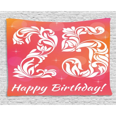 25th Birthday Decorations Tapestry, Font with Leaves Flowers Hearts ...