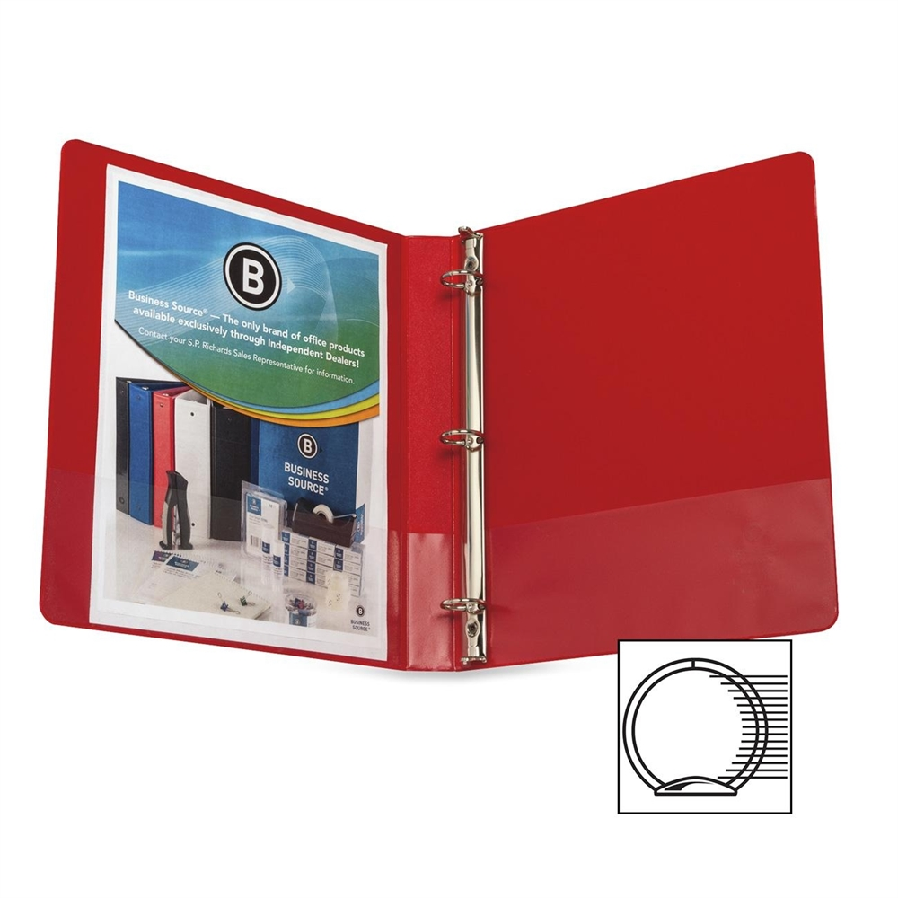 Business Source Round Ring Binder, w/ Pockets, 1'', Red (Set of 4)