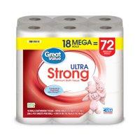 Great Value Ultra Strong Toilet Paper, 18 Mega Rolls
