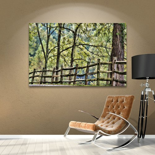 Alcott Hill Shaded Split Rail Fence Photographic Print on Wrapped Canvas