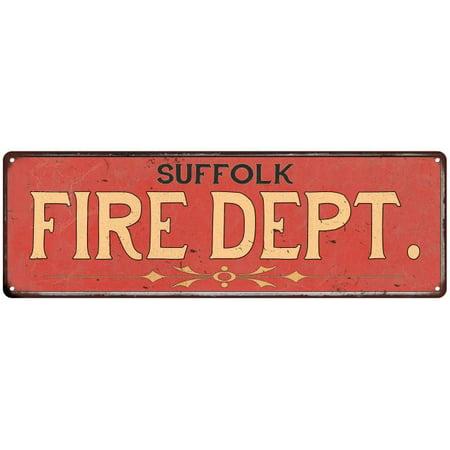 Suffolk Metal - SUFFOLK FIRE DEPT. Home Decor Metal Sign Police Gift 8x24 108240013352