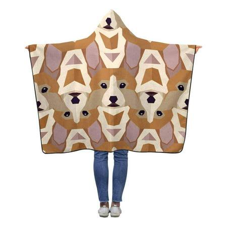 ASHLEIGH Corgi Head Hooded Throw Blanket 50x60 inches Kids Girls Boys Toddler Wearable Polar Fleece Blankets