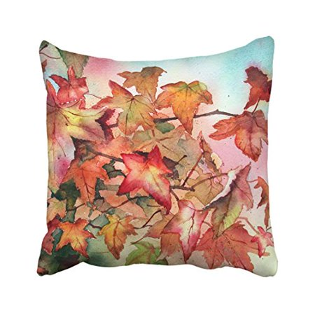 WinHome Red And Yellow Maple Leaves Autumn Fall Leaf Watercolor Drawing Decorative Pillow Cover With Hidden Zipper Decor Cushion Two Sides 18x18 inches