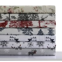 Mountain Toile Heavyweight 200-GSM Cotton Flannel Printed Extra Deep Pocket Sheet Set