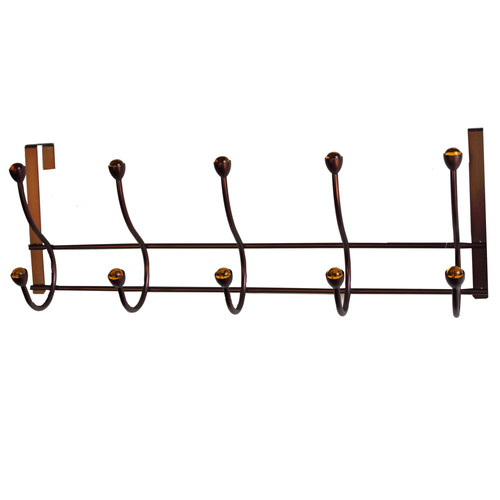 Elegant Home Fashions 5-Hook Over-the-Door Storage Unit, Amber Acrylic Ball/Oil Rubbed Bronze