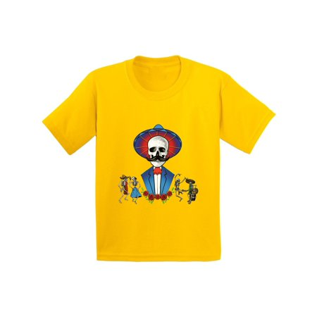 Awkward Styles Mustache Skull Tshirt for Kids Sugar Skull Shirts Dia de los Muertos Outfit Mexican Skull T Shirt Day of the Dead Gifts for Kids Mexican Holiday T Shirt Dancing Skeletons Youth Shirt - Skeleton Outfit