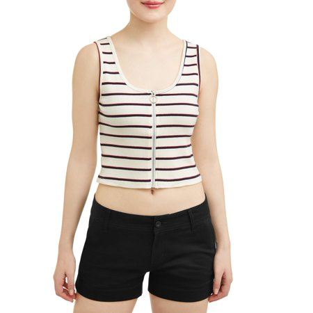 Juniors' Cropped Striped Zip Front Rib Knit Cropped Tank ()