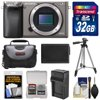Sony Alpha A6000 Wi-Fi Digital Camera Body (Graphite) with 32GB Card + Case + Battery/Charger + Tripod + Accessory Kit