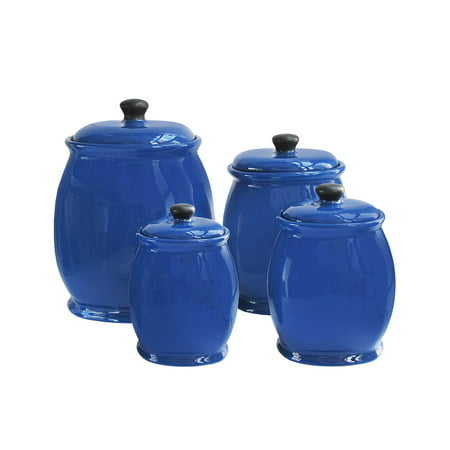 American Atelier Blue 4 Piece Kitchen Storage Jar Canister Set with Lids