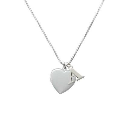 Silvertone Heart Locket - A - Initial Necklace