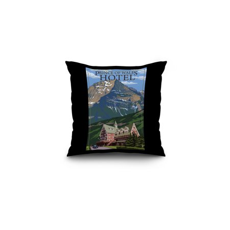 Waterton National Park  Canada   Prince Of Wales Hotel   Lantern Press Artwork  16X16 Spun Polyester Pillow  Black Border
