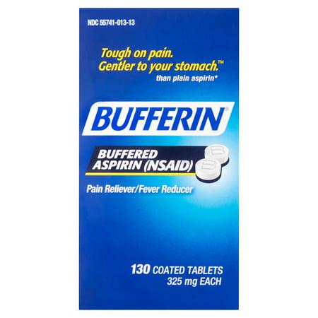 Bufferin Buffered Aspirin-douleur / fièvre Réducteur de comprimés enrobés, de 325 mg, 130 count