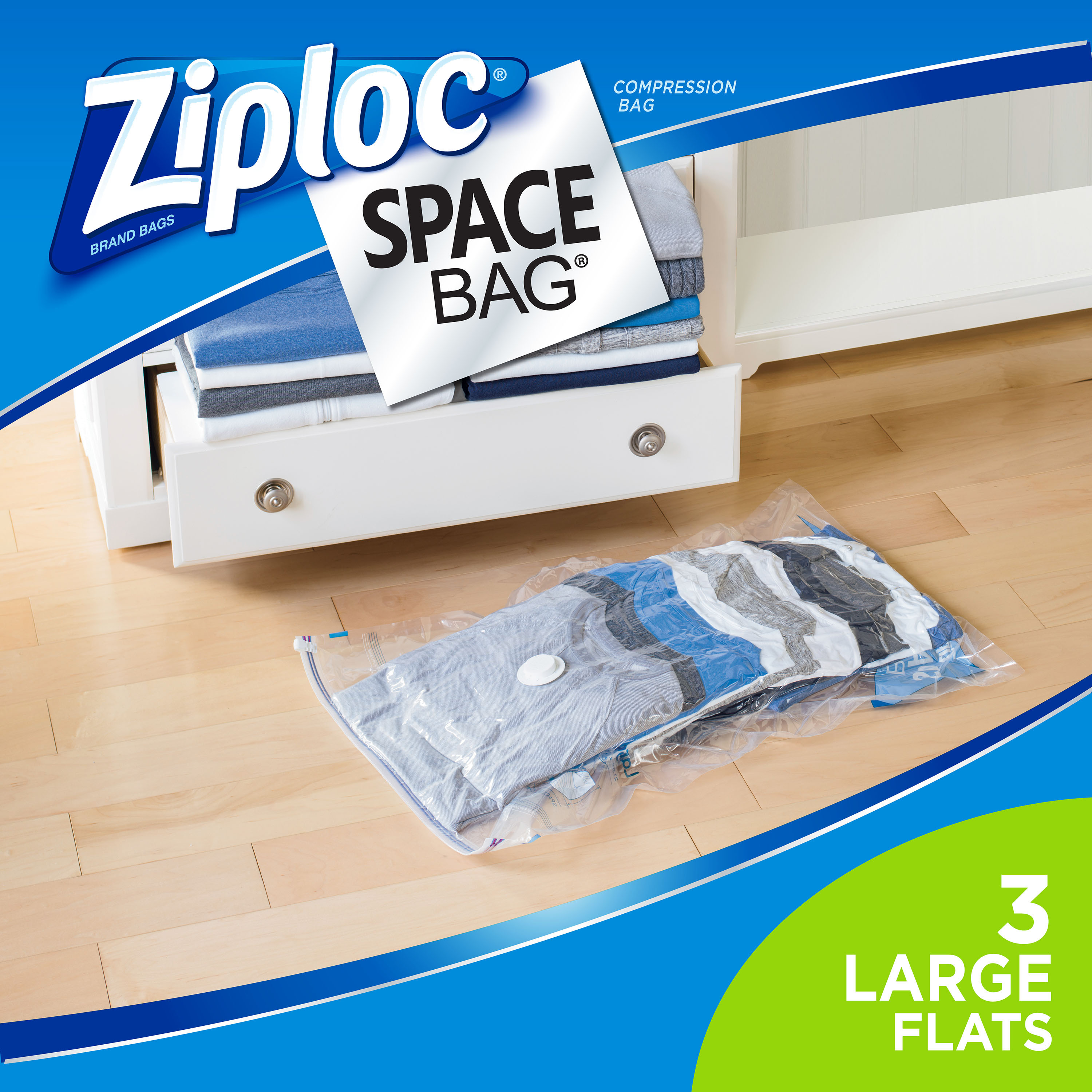 Ziploc Space Bag, Large Flat, 3 count
