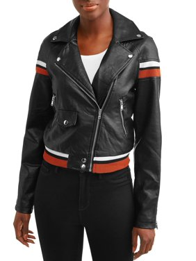 83f5722c4633 Product Image Women's Faux Leather Jacket with Varsity Stripes