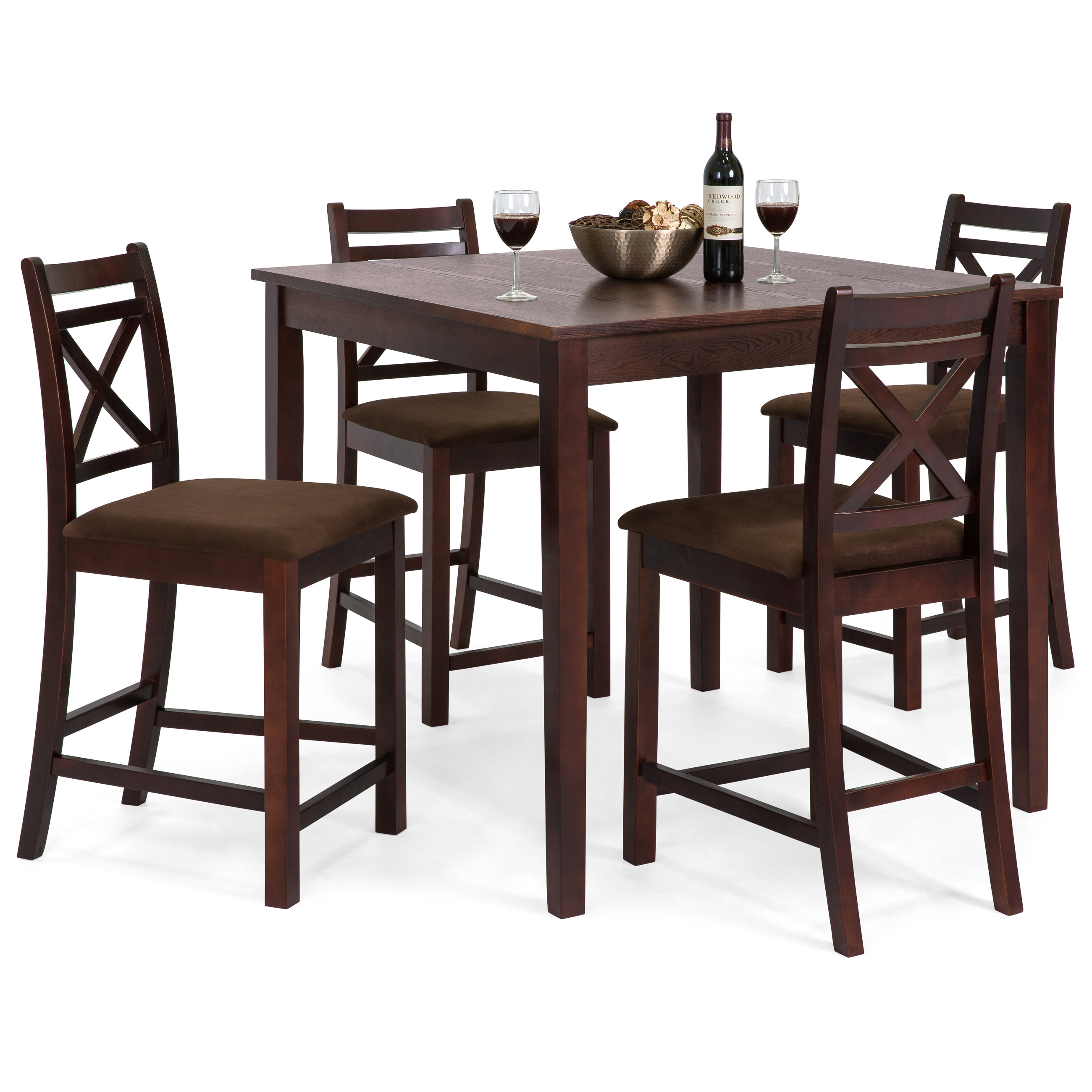 Best Choice Products 5-Piece Wooden Counter Height Square Dining Table Set w  4 Chairs and Padded Seats Espresso by Best Choice Products
