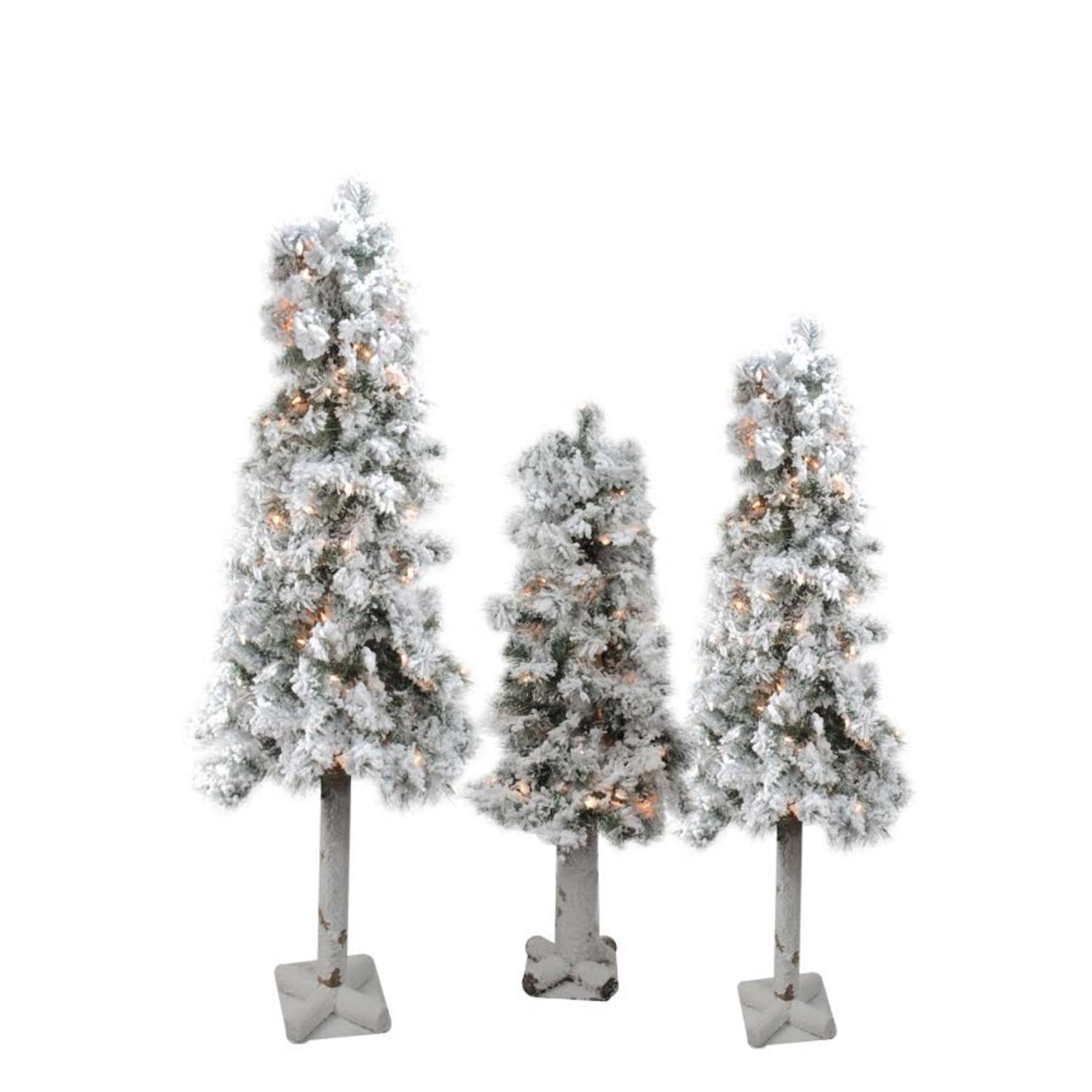 Set Of 3 Pre Lit Flocked Woodland Alpine Artificial Christmas Trees 3 4 And 5 Clear Lights Walmart Canada