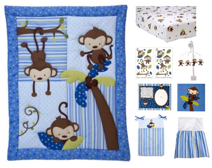 Little Bedding by NoJo 3 Little Monkeys 10 Piece Crib Bedding Set, Blue by Little Bedding by NoJo
