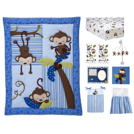 Retro Circles Crib Bedding - Little Bedding by NoJo 3 Little Monkeys 10 Piece Crib Bedding Set, Blue