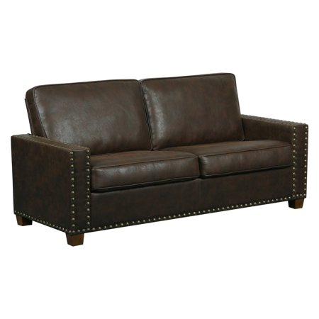 Right2Home Rustic Walnut Faux Leather 2 Cushion Sofa (Style Walnut Sofa)