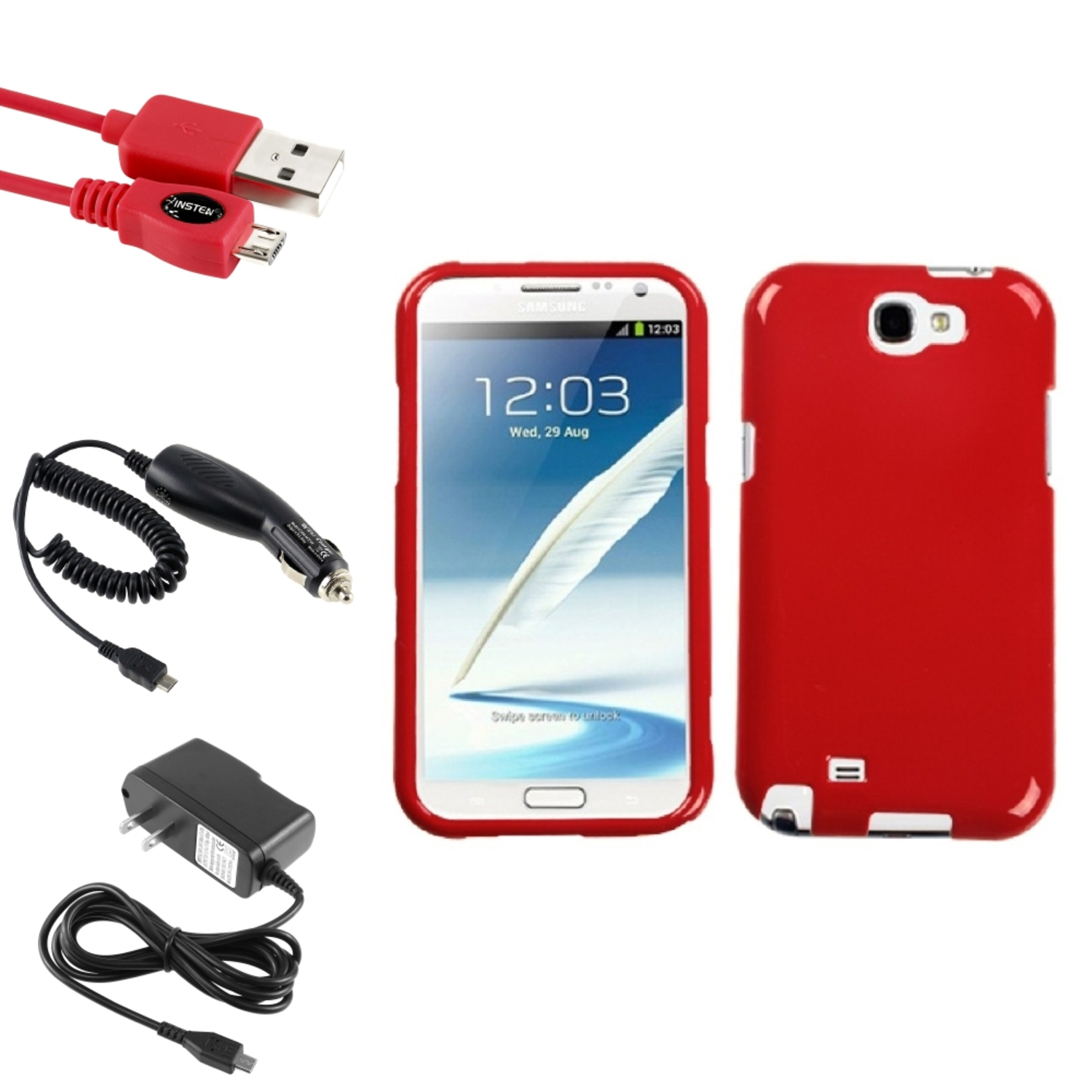 Insten Flaming Red Hard Case Car Wall Charger 3X USB Cable For Samsung Galaxy Note 2 II