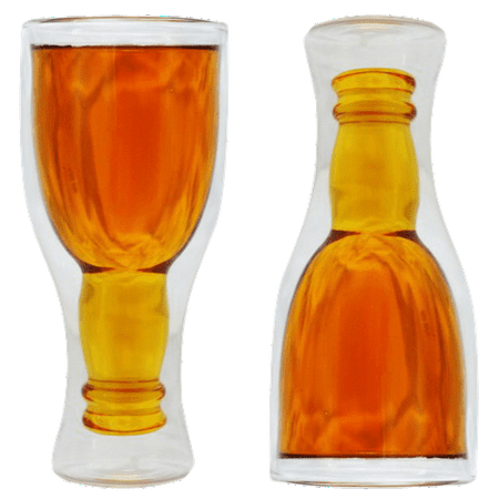Fairly Odd Novelties Upside Down Double Walled Beer - Down Beer Glass