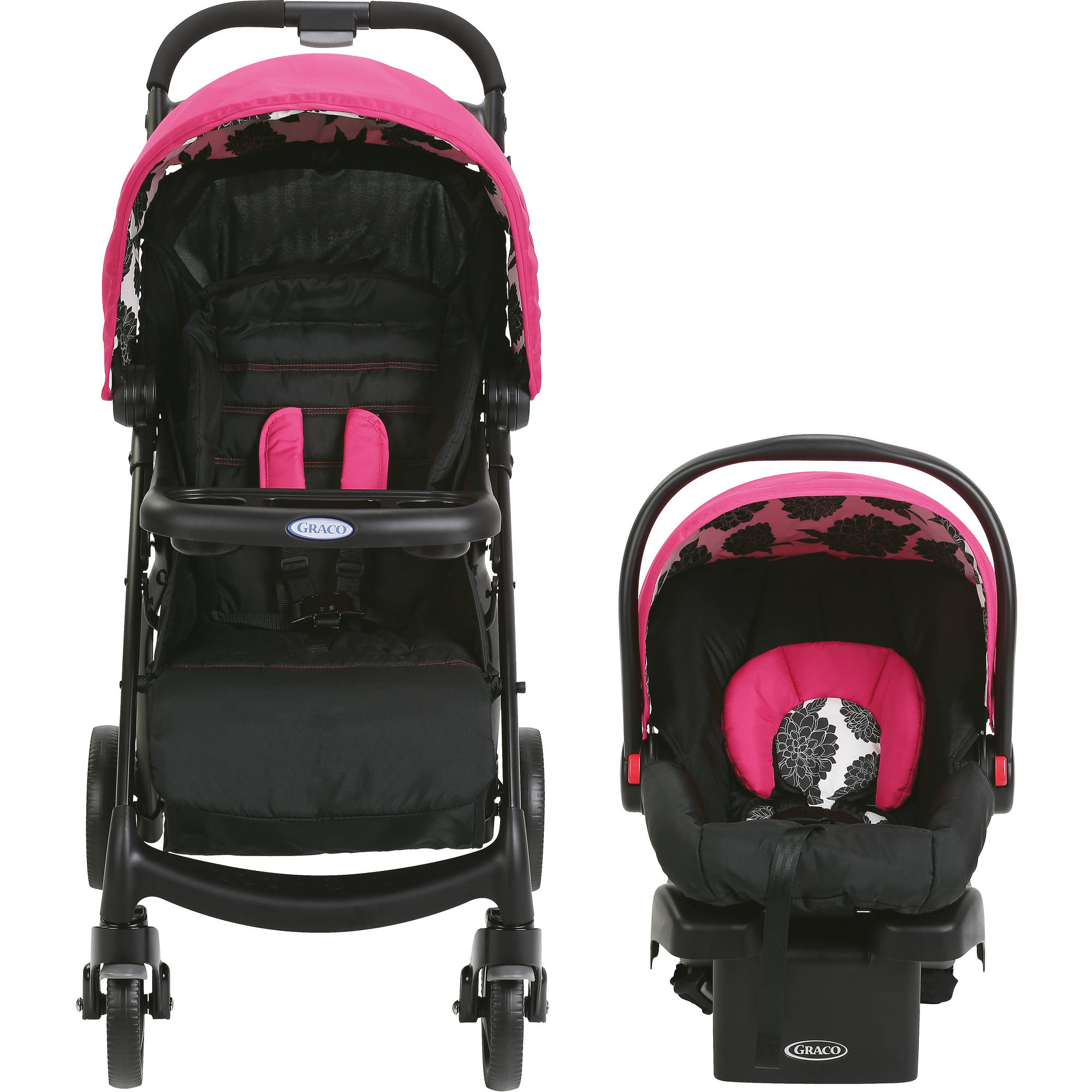 Graco Verb Click Connect Travel System Infant Car Seat Stroller Carrier Pink