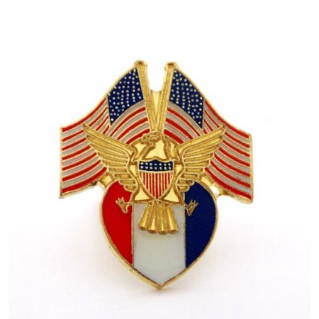 USA Flags Gold Eagle Red White And Blue Shield Patriotic Lapel Hat Pin PPM631