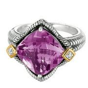 Phillip Gavriel 18k Gold & Sterling Silver Diamond, Amethyst Star Ring, Size 8