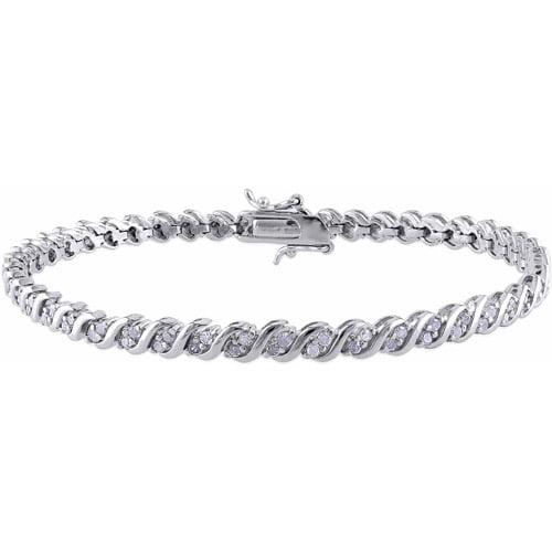 "Miabella 1 Carat T.W. Diamond Sterling Silver Tennis Bracelet, 7.25"""