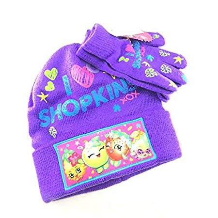 Beanie Cap - Shopkins - I Love Purple w/Gloves Set Youth/Kids Hat (I Love Lucy Chefs Hat)