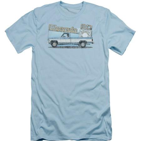 Chevy Men's  Old Silverado Sketch Slim Fit T-shirt Light Blue